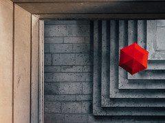 Red Hexagon (FButzi) Tags: red umbrella stairs city genova genoa italy italia from above canon eos 80d urban abstract