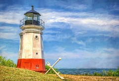 Digital Photo Painting of the Vermilion Lighthouse (PhotosToArtByMike) Tags: vermilionlighthouse vermilionohio digitalpainting vermilionriver lakeerie lightstation southernshore vermilion ohio oh eriecounty loraincounty