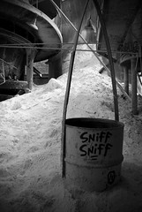 Bad Habits (Wєirdlig) Tags: abandoned exploring exploration urbex rurex decay asbestos creepy abstract eclectic vacant photography destroyed urban ruins trespass trespassing haunted desolate architecture building house home colorado indoor interior blackandwhite monochrome bw factory mill sugar powder ingredients destruction sniff vandalism tag tags bucket barrel storage
