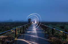 Spirally Silhouette (Rob Pitt) Tags: wooden boardwalk burton marshes arty fog foggy wirral cheshire deeside point blur morning mist misty 750d rob pitt photography outdoor walkway