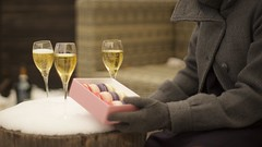 Macarons & bubbles (Caropaulus) Tags: 50mm blur bokeh bubbles champagne crémant dessert food french glass lifestyle macarons patisserie rokkor snow sucré sweet vine