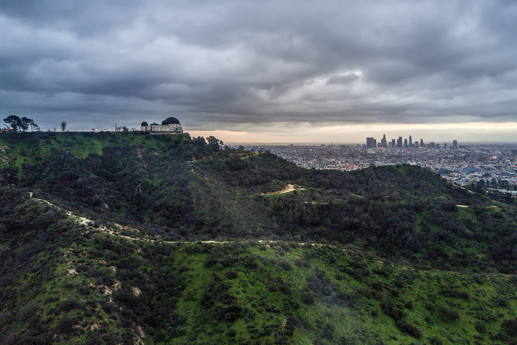 Griffith Park observatory and the Los Angeles Skyline.