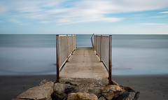 Long Exposure (hugrem1) Tags: sky sea water beach blue clouds ocean waves rocks fuji sand seascape landscapes long exposure pontoon saintes maries de la mer france nd1000 bouche du rhone xt1 xf 18135mm