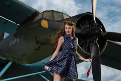 Airplane Pinup (JamesSchmelzer) Tags: sky airplane dress wind dramatic oldschool 50s pinup polkadot
