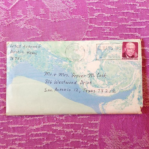 My mom loved to make her own marbleized paper. Here's an envelope she made for a letter to my grandparents in 1972.