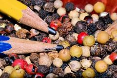 Pencil Points & Peppercorns (donjuanmon) Tags: blue red stilllife green yellow pencil points theme peppercorns hmm macromondays donjuanmon