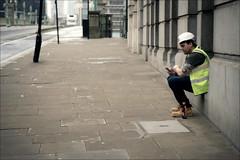 Having a break and a smoke (*Kicki*) Tags: smoke break man person people mobilephone cellphone helmet hardhat street pavement candid london uk gb unitedkingdom england cityoflondon thesquaremile southwarkbridge cigarette pause sidewalk road väntan fs161211 fotosondag bridge tattoo