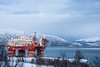 Industry (BasLoo) Tags: industry oil drilling rig platform tromsø norway norge fjord scandinavia red blue hour winter snow cold sea water mountain mountains crane sky north pole night canon 450d eos tamron
