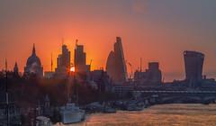 It's a New Dawn, It's a New Day... (Jerry Fryer) Tags: sunrise london cityscape city england stpaulscathedral cheesegrater walkietalkie tower42 gherkin sun thames waterloobridge blackfriarsbridge hmspresident victoriaembankment 6d