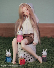 Margot and her bunnies (Hazy Eyes and Dolls) Tags: merrydollround merry doll round nuria bjd tiny