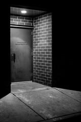 Back Door at the Goon Club (O.S. Fisher) Tags: 5d canon canon5dmarkiii markiii osfisher olivershaunfisher photo utah photograph photography shaunfisher brick blackandwhite monotone monochrome highcontrast noir door mood night steel