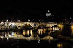 Italy by Night: Rome - Ponte Sisto and San Pietro (Bebo_cik) Tags: cityscape landmark reflection water night river bridge roma rome italy