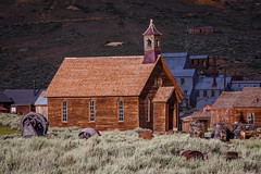 Spotlight on Bodie's Church (Jeffrey Sullivan) Tags: bodie state historic park american ghost town wild west mining bridgeport eastern sierra california united states usa canon 5d mark iii photo copyright 2015 jeff sullivan july abandoned rural decay mono county