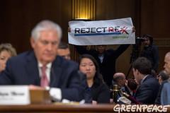 Rejecting Rex At Hearing (Greenpeace USA 2016) Tags: tillerson rex exxon mobile climate denier trump statedepartment secreatryofstate senate capitolhill hearing confirmation washington dc