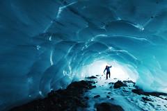 Skating into an ice cave. Byron Glacier, Chugach National Forest, Alaska (Paxson Woelber) Tags: skating nordicskating icecave glacialcave glacier byronglacier paxsonwoelber blueice glacialice alaskaglacier alaskaglaciers glaciersnearanchorage personinglacialcave personinglacier personinsideglacier exploringglacier climbinginaglacier