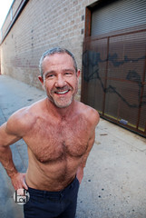 Francisco (Levi Smith Photography) Tags: muscle hairy pecs shirtless man men beard mens mans jeans abs arms dude smile cute handsome hot fashion gray salt pepper graffiti