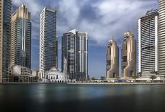 Dubai marina promenade (Brad@Shaw) Tags: dubai city cityscape water waterfront waterside green blue clouds skyscraper buildings mosque hdr longexposure uae marina canon canonef1635mmf4lisusm le day holiday vacation