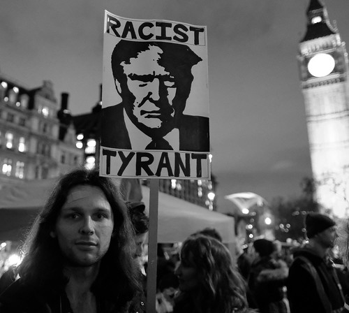 Racist tyrant. Anti-Trump protester in London's Parliament Square.