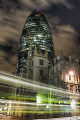 The Gherkin (perkster24) Tags: city longexposure nightphotography london architecture night architectural lighttrails gherkin hdr cityview architecturalphotography hdrphotography hdrfromsingleraw hdrlondon