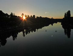 le cogneur arrive (laetitiablableuz) Tags: sky france reflection tree water sunrise de soleil eau poetry glory ile lovers reflet ciel val suburb arbre lever banlieue marne