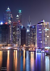 DSC_3360 (zaid alani) Tags: lake water colors night buildings nikon dubai gulf towers uae dubaimarina dxb jumera d7100