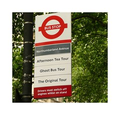Tea Tour for me - of course!!!! (Audrey A Jackson) Tags: city trees colour london sign advertising post capital busstop panasonicdmctz3 1001nightsmagiccity