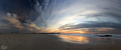 Pano Muelle O Porto (Bouzonj) Tags: panoramica portugal o porto sunset puesta sol luna playa
