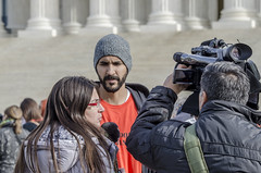 Enmanuel Candelario Is Interviewed at a Rally Marking the 15th Year of Guantánamo's Opening (Shrieking Tree) Tags: guantanamo bagram kandahar blacksites indefinitedetention cia torture protest vigil detainee gitmo gtmo murder waterboarding donaldtrump demonstration abughraib humanrights boilersuit abuse humiliation america usa witness against