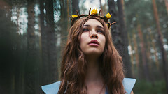 becoming (Maria Nenenko) Tags: idea concept conceptual marinino marininoart art fineart portrait girl woman closeup face lips eyes beauty beautiful forest nature green red yellow flowers crown wreath blood tears longhair character story storytelling jesus cinematic cinema melancholy life world conceptphotos