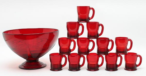 Cambridge Tally Ho Ruby Red Punch Bowl and Mugs ($302.40)