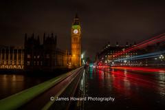 Big Ben Light Trails (jameshowardphotography) Tags: lights trails big ben long exposure bridge capital westminster red gree green road rain wet