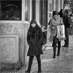 United colors (John Riper) Tags: johnriper street photography straatfotografie square bw black white zwartwit mono monochrome candid john riper canon 6d 24105 l woman lisbon lisboa portugal girl young lady pavement fashion united colors benetton shopping people graffiti