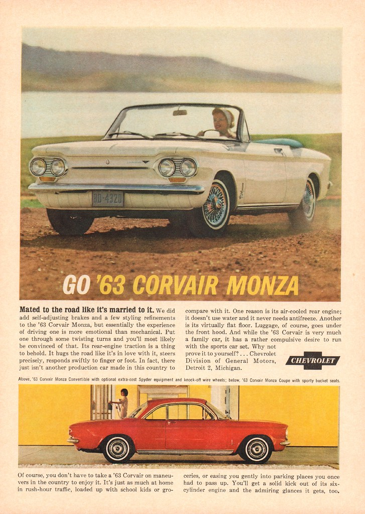 1963 Chevrolet Corvair Monza Advertisement Newsweek November 19 1962 SenseiAlan Tags