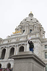 Protester does not like Donald Trump (Fibonacci Blue) Tags: stpaul protest march woman women demonstration event dissent feminism outcry feminist activism outrage twincities activist minnesota trump republican sign capitol gop liberal building dome
