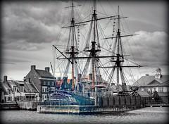 HMS Trincomalee..Jackson's wharf.. (ocean rain) Tags: sky water clouds nikon harbour gimp hdr pointshoot selectivecolour tonemapping hartlepoolmarina qtpfsgui jacksonswharf picmonkey