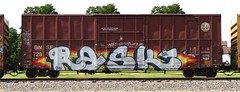 Rask (quiet-silence) Tags: railroad art train graffiti railcar boxcar graff freight bnsf bh fr8 rask bnsf728515