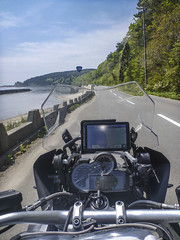 R338, Shimokita Peninsula, Mutsuwan Bay (mega_midget_racer) Tags: blue trees sky mountain tree green nature bike japan forest bmw motorcycle  touring gravel touhoku r1200gs