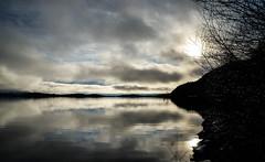 Silver Reflections (ewan_bnd) Tags: reflection tree weather silhouette clouds scotland scenery unitedkingdom objects gb loch lochlomond arrochar