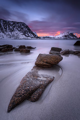 sunrise haukland - norway (cfaobam) Tags: travel sun color beach nature water norway stone sunrise canon landscape eos wasser europa europe long exposure norwegen national fjord landschaft stein lofoten sonnenaufgang geographic 6d langzeitbelichtung travelphotography magiclight haukland deepnorth cfaobam cfaobamhome