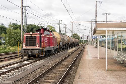 Bentheimer Eisenbahn D21 met 5 GATX-ketelwagens, Bad Bentheim 14 juli 2015