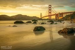 Golden Gate Sunset (jkuphotos) Tags: ocean sanfrancisco california ca bridge sunset usa beach water evening rocks waves unitedstates pacific marin landmark marshall boulders goldengatebridge goldengate headlands fortpoint marshalls precidio jamesudall