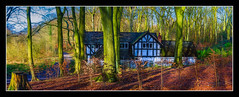 Old Warke Lodge (Kevin, from Manchester) Tags: architecture canon1100d canon1855mm countryside england english greatermanchester hdr historical kevinwalker lancashire manchester northwest oldwarkedam outdoor photoborder thelodge trees tudor worsley worsleywoods