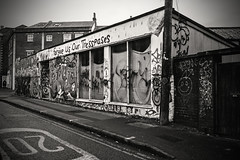 Forgive us our trespasses.... (Dafydd Penguin) Tags: forgive us our trespasses blackandwhite blackwhite black white bw monochrome street art grafitti slum stokes croft messy urban derelict bristol england city centre nikon df nikkor 35mm af f2d
