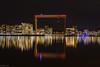 Sparkeling waterfront (kaifr) Tags: lights night waterfront calm crane reflections buildings evening still gothenburg västragötalandslän sweden se skyline water sea