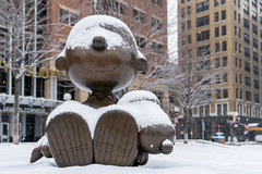 Charlie Brown & Snoopy & snow, St Paul MN (Lorie Shaull) Tags: stpaul minnesota mn snow charlesschulz peanuts sculpture peanutscharacters tivolitoo landmarkplaza charliebrown snoopy winter bronzestatue
