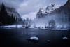 Gates of the Valley Veil (Jason J. Hatfield) Tags: california usa winter night stars waterfall gatesofthevalley fog yosemite nationalpark mistmountains snow