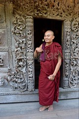 30099863 (wolfgangkaehler) Tags: 2017 asia asian southeastasia myanmar burma burmese mandalay mandalayhill shwenandawmonastery goldenpalacemonastery buddhist buddhistart buddhistartwork buddhistmonasteries buddhistmonastery buddhisttemple buddhisttemples teakwood teak woodenarchitecture woodencarving people person posing buddhistmonk man