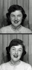 Mom Photo Booth Circa 1955 (Patrick Q) Tags: family fashionspast blackandwhite bw white black silly 1955 college beautiful beauty smile fashion vintage mom blackwhite sweater photobooth emotion expression mother makeup 1954 pearls retro 1950s teenager expressive redlipstick 50s freckles emotional fashionqueen 1953 oldfamilyphotos coiffure midcentury emote vanityfair sweaterset