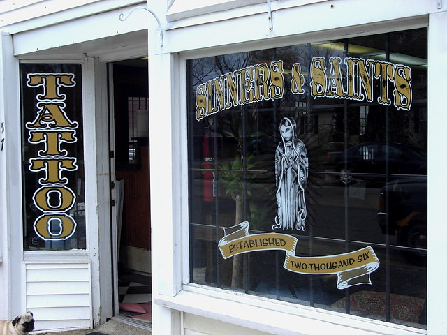 Sinners & Saints Tattoo Shop. Handpainted sign work by Andrew Mayo and Keith