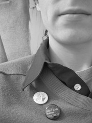I like buttons. (Tyler Coates) Tags: blackandwhite tag3 taggedout sweater tag2 tag1 buttons hipster pins collar belleandsebastian voxtrot